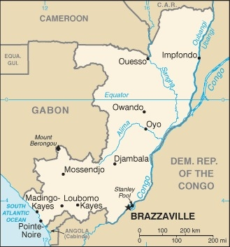 Cartina della Repubblica del Congo