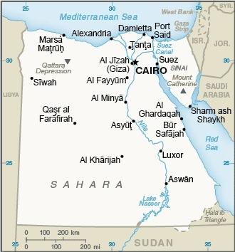 Mappa dell'Egitto