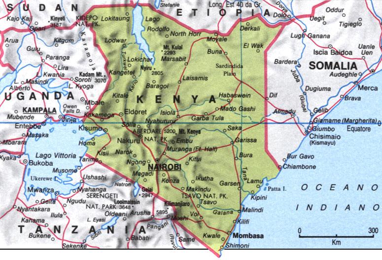Cartina del Kenya