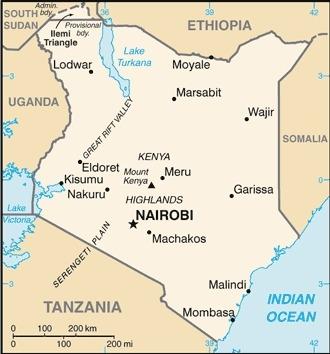 Mappa del Kenia