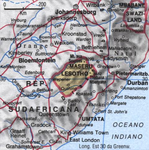 Cartina del Lesotho