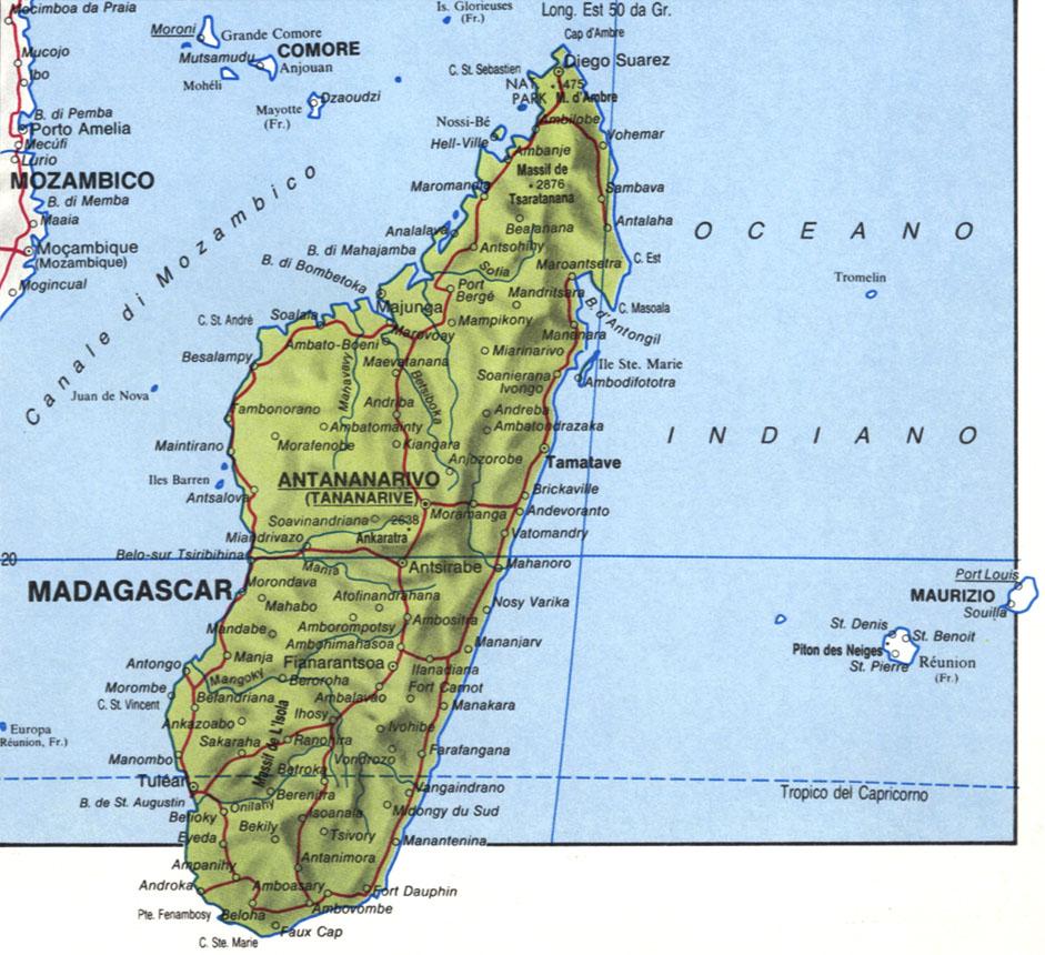 Cartina del Madagascar