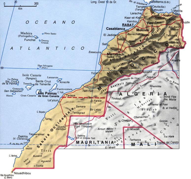 Marocco Cartina Geografica Fisica.Politico Marocco Cartina