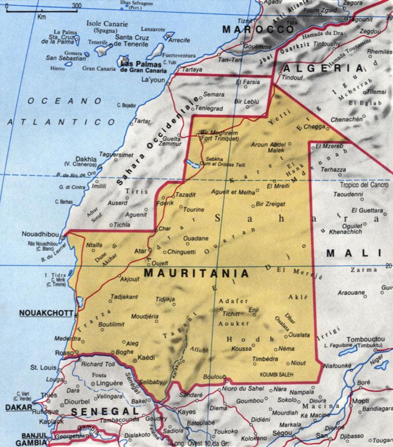 Cartina della Mauritania