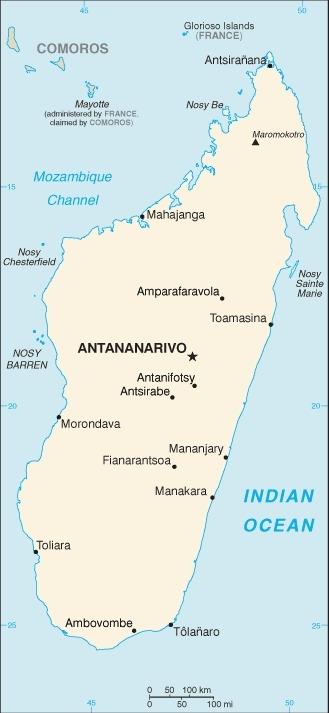 Mappa del Madagascar