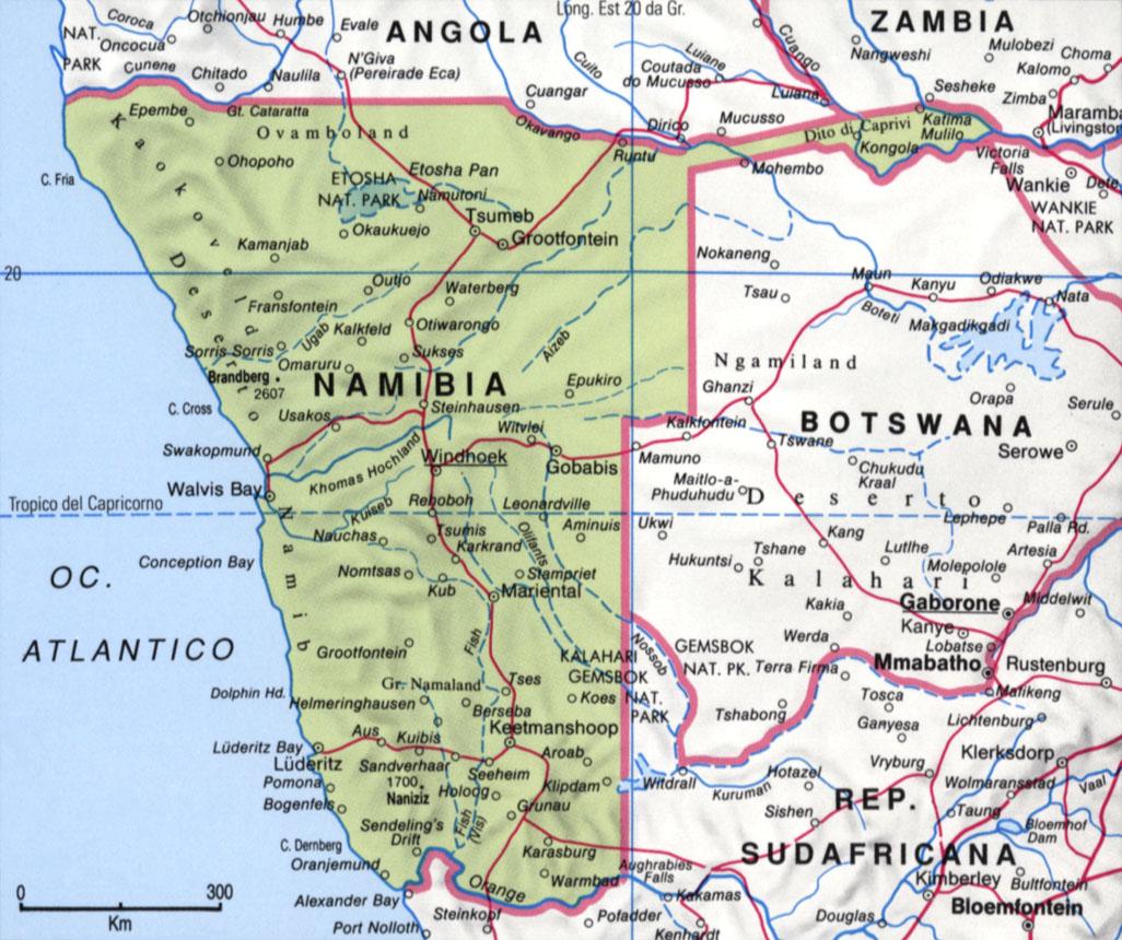 Cartina della Namibia