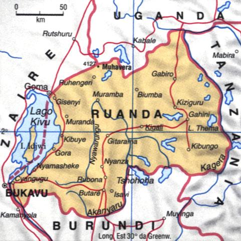 Cartina del Ruanda