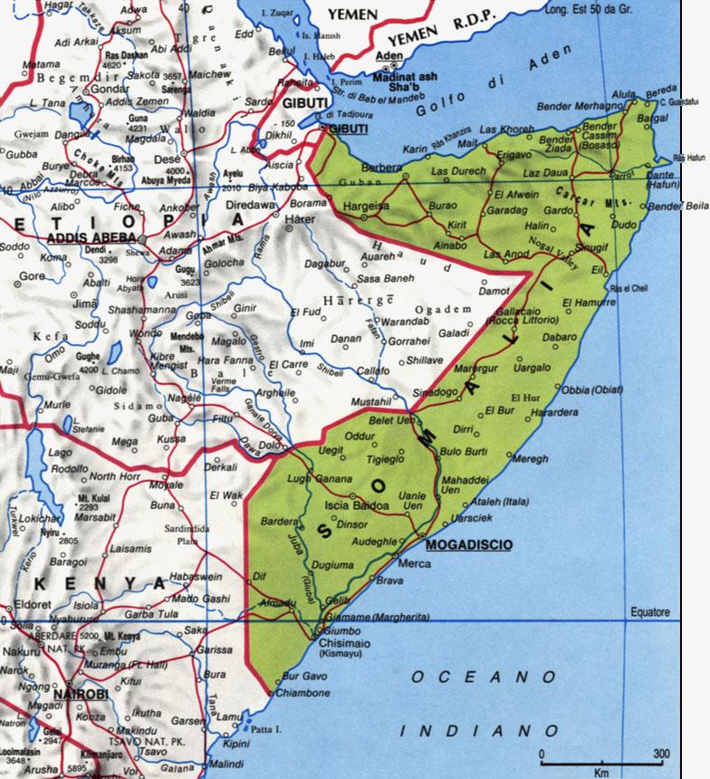 Cartina della Somalia
