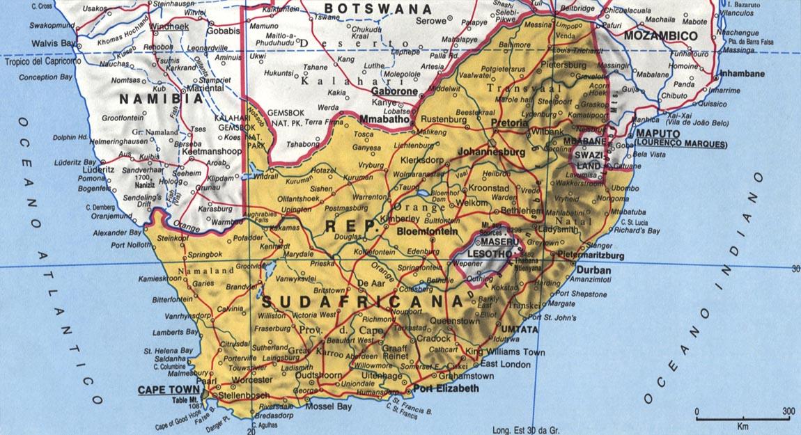 Cartina del Sudafrica