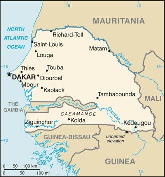 Mappa del Senegal