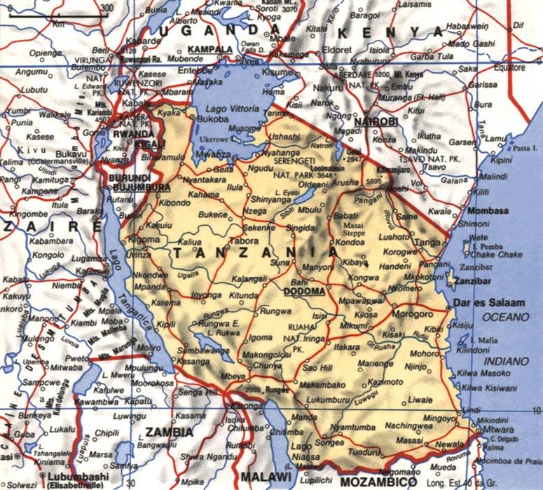 Cartina della Tanzania
