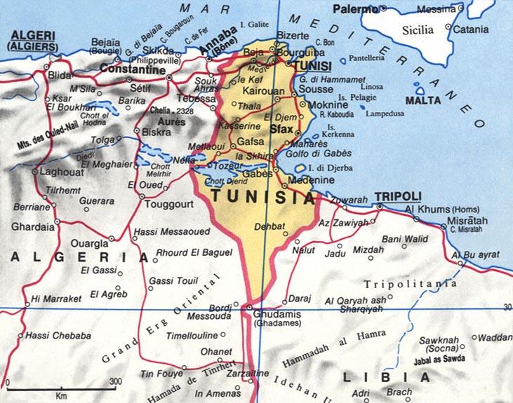 Cartina della Tunisia