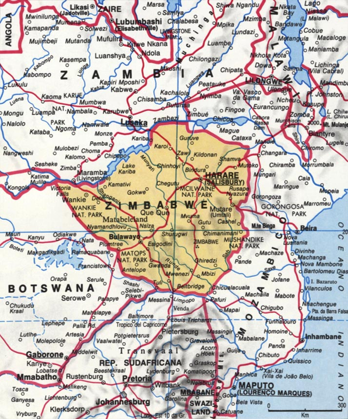 Cartina dello Zimbabwe