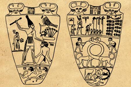 Tavoletta di Narmer inizio età tinita celebrante la riunificazione dell'Egitto
