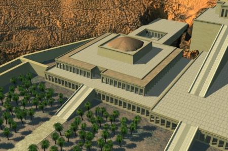 Ricostruzione del tempio funerario di Mentuhotep I a Deir el-Bahari