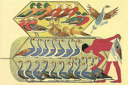Scena di caccia da Beni Hassan I. Rossellini Monumenti dell'Egitto e della Nubia 1834.