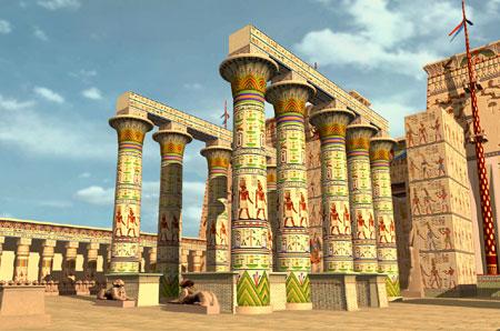 Ricostruzione del chiosco di Taharqa XXV dinastia nel cortile del tempio di Amon a Karnak.