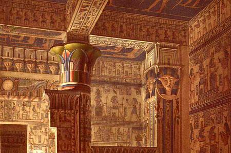 La sala ipostila del tempio di Hator a Deir el Medina