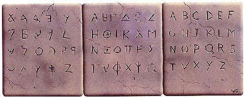 Caratteri  fenici, greci e romani