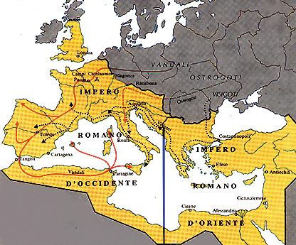 La divisione dell'Impero romano nel 395 d.C.